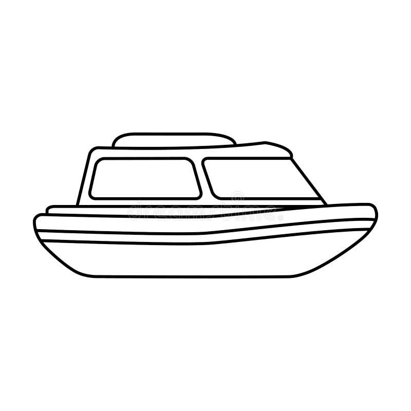Bote de salvamento anaranjado Barco para rescatar a las personas de ahogamiento La nave y el agua transportan el solo icono en ve ilustración del vector