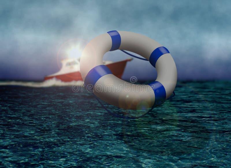 Bote de salvamento e boia de vida no mar ilustração do vetor
