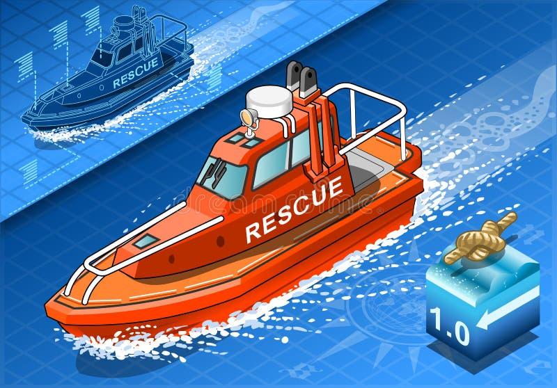 Bote de salvamento isométrico en la navegación ilustración del vector
