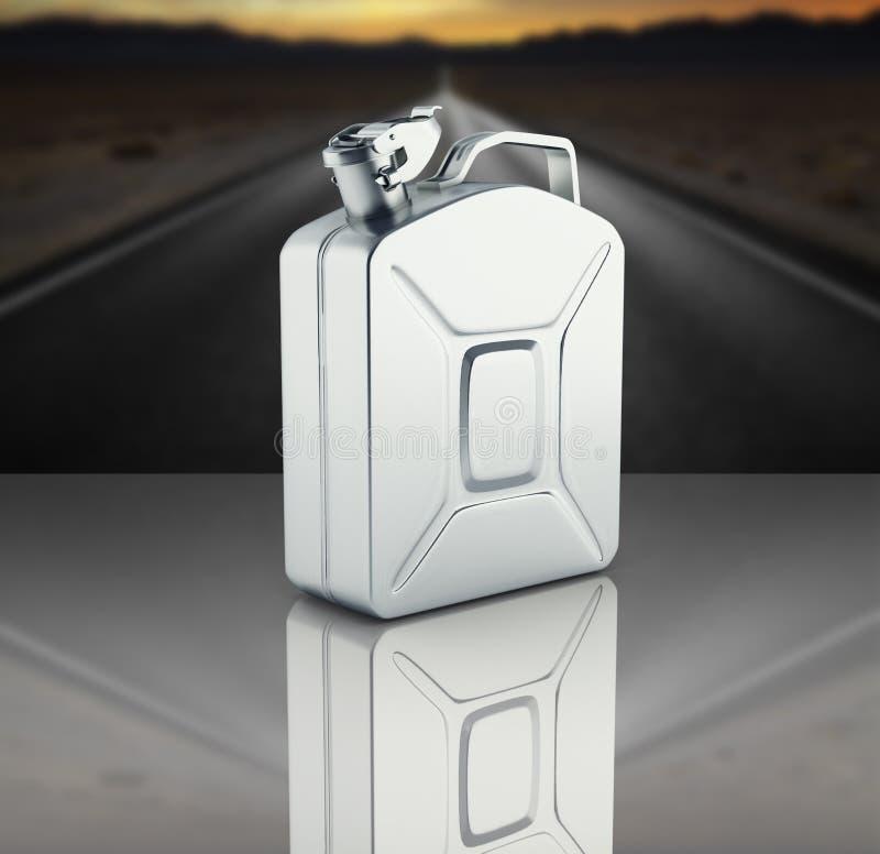 Bote del gas en fondo del camino con la reflexión 3d libre illustration