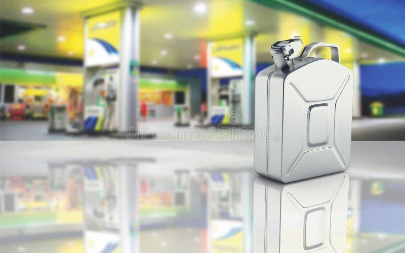 Bote del gas en fondo de la gasolinera con con la reflexión 3d stock de ilustración