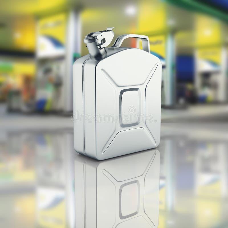 Bote del gas en fondo de la gasolinera con la reflexión 3d ilustración del vector