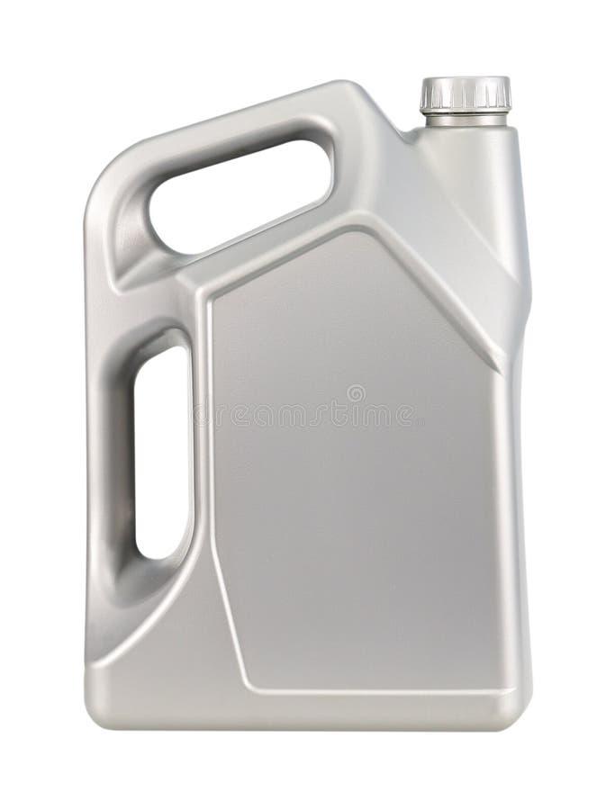 Bote gris con el aceite de motor aislado en blanco fotografía de archivo