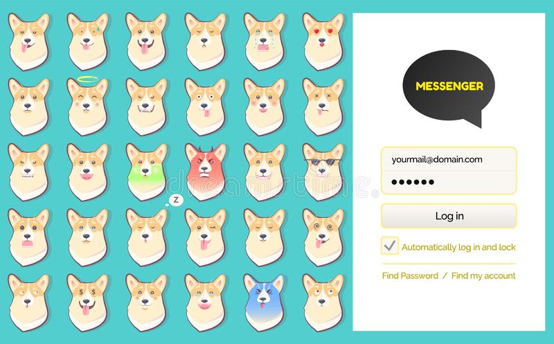 Bote kakao Gespräch LOGON-Seiten-und Hundeaufkleber stock abbildung