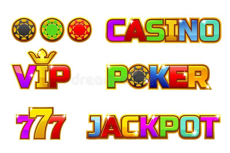 BOTE, PÓKER, 777, CASINO y VIP coloridos determinados del logotipo del vector Microprocesadores del oro stock de ilustración