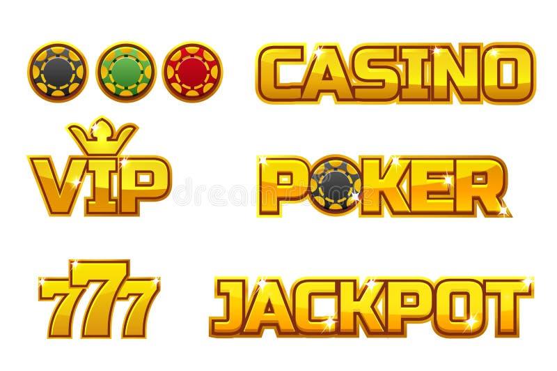 BOTE, PÓKER, 777, CASINO y VIP de oro determinados del logotipo del vector Microprocesadores del juego del oro libre illustration