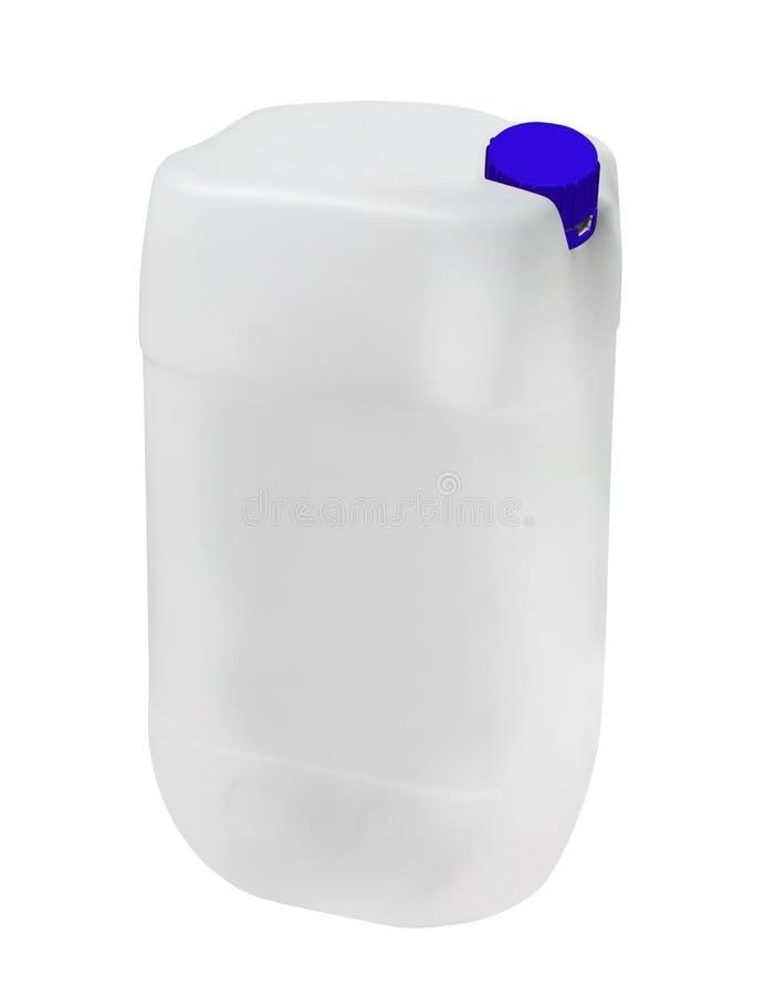 Bote plástico en blanco para el aceite de motor aislado en blanco imagen de archivo libre de regalías
