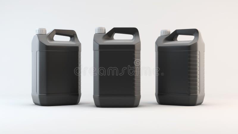 Bote plástico negro para el aceite de la máquina 3d rinden stock de ilustración