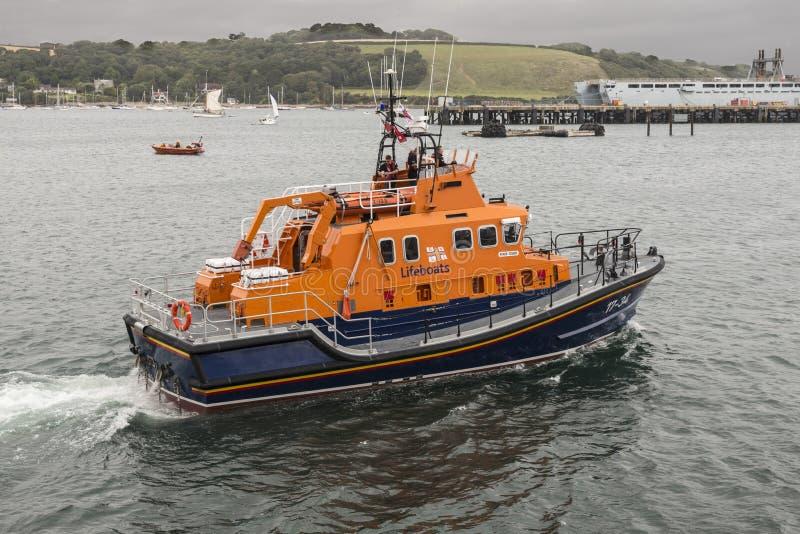 Bote salvavidas de Falmouth RNLI imagen de archivo libre de regalías