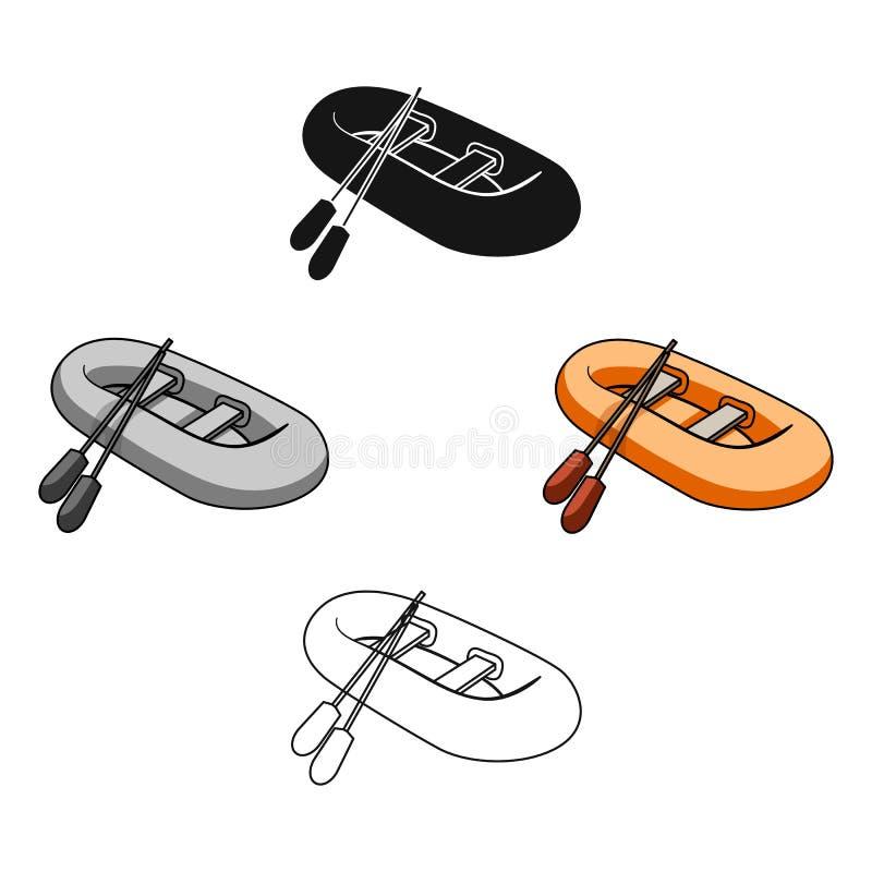 Bote salvavidas de goma anaranjado El barco, que pesa en los lados de los barcos grandes para el rescate Transporte de la nave y  stock de ilustración