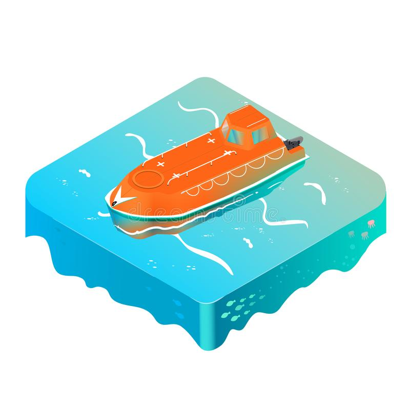 Bote salvavidas de la emergencia en el océano isométrico libre illustration