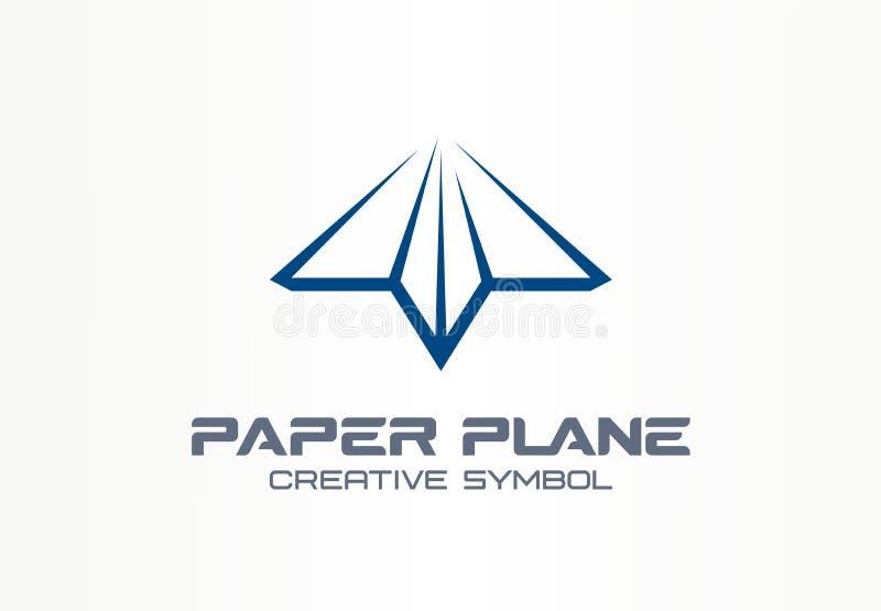 Bote-Symbolkonzept der Papierfläche kreatives Pfeilzusammenfassungs-Geschäftskommunikationslogo des Buchstaben geformtes Kontakt lizenzfreie abbildung