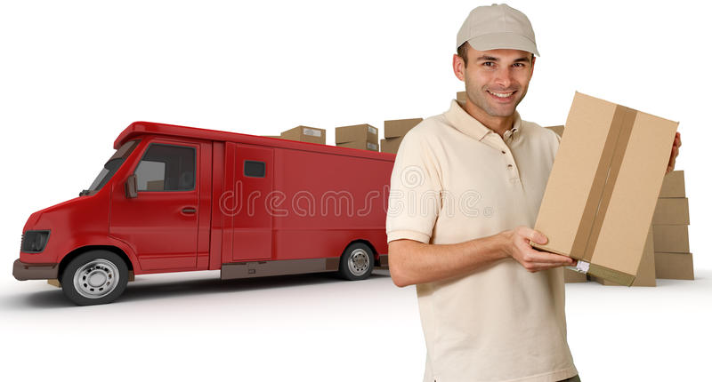 Bote und roter Lastwagen stockfotos