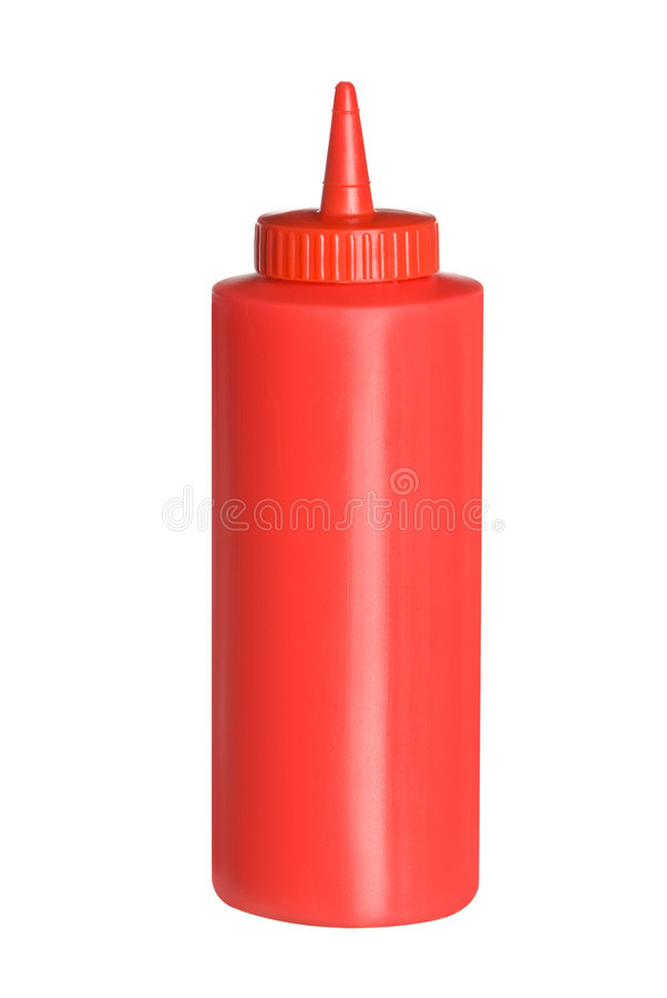 Botella aislada de salsa de tomate imagenes de archivo