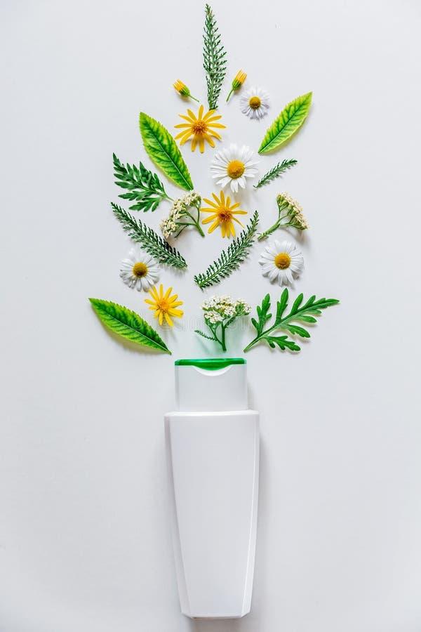 Botella blanca con el cosmético en el fondo blanco con las flores y las hojas del campo El concepto de verano y de idea para el a imagen de archivo