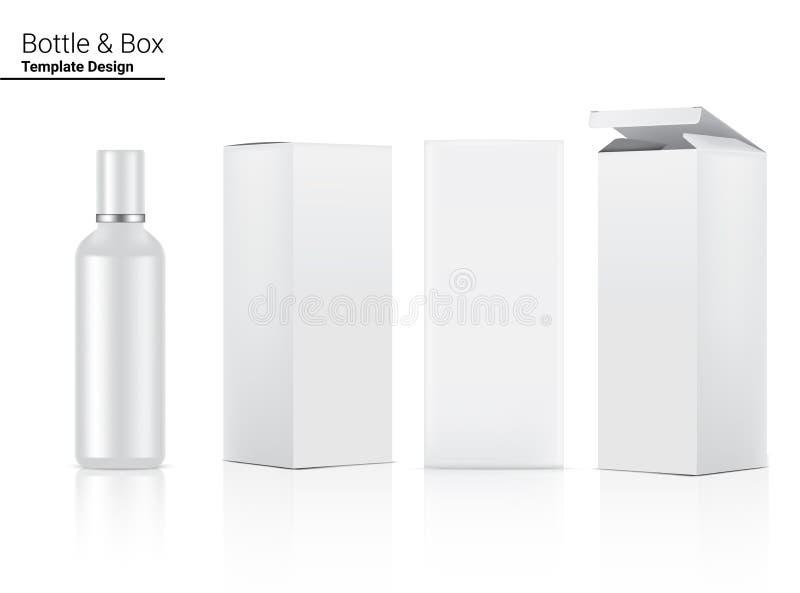 Botella brillante maqueta cosmética realista y 3 Casilla Dimensional para el cuidado de la piel y el envejecimiento anti arrugas  ilustración del vector