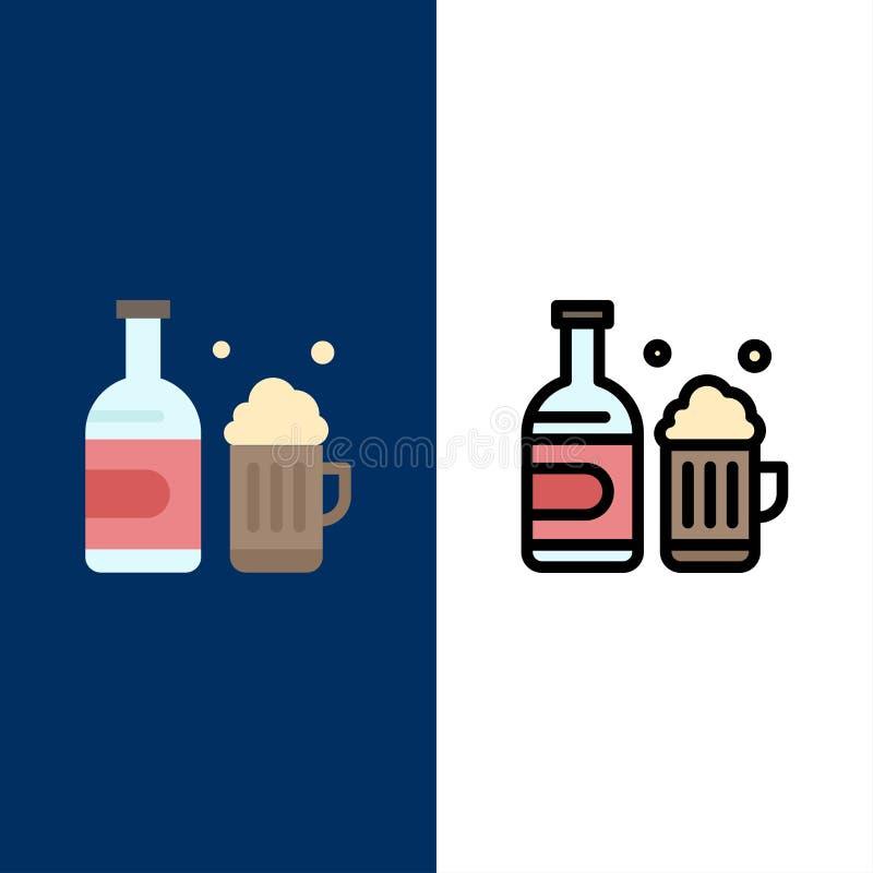 Botella, cerveza, taza, iconos de Canadá El plano y la línea icono llenado fijaron el fondo azul del vector libre illustration