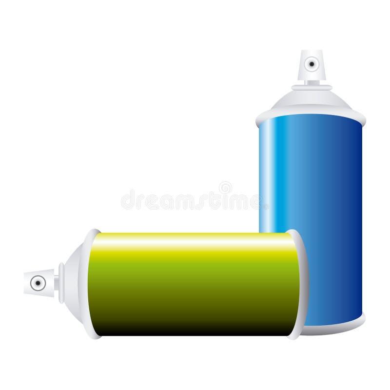 botella colorida del espray de aerosol del sistema ilustración del vector