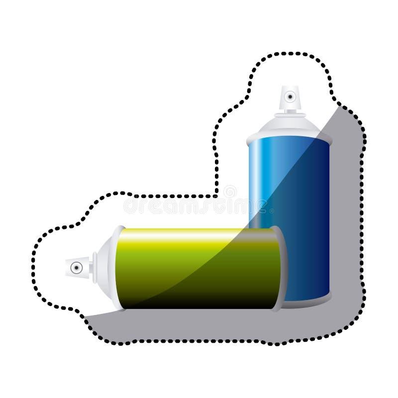 botella colorida del espray de aerosol del sistema de la etiqueta engomada libre illustration