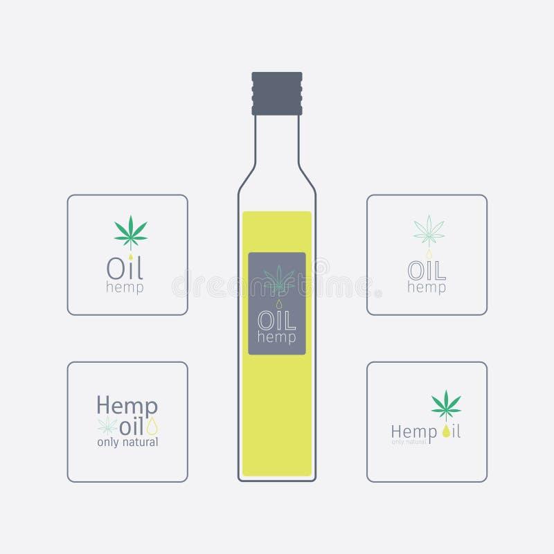 Botella con aceite de cáñamo Aceite de cáñamo de los logotipos ilustración del vector