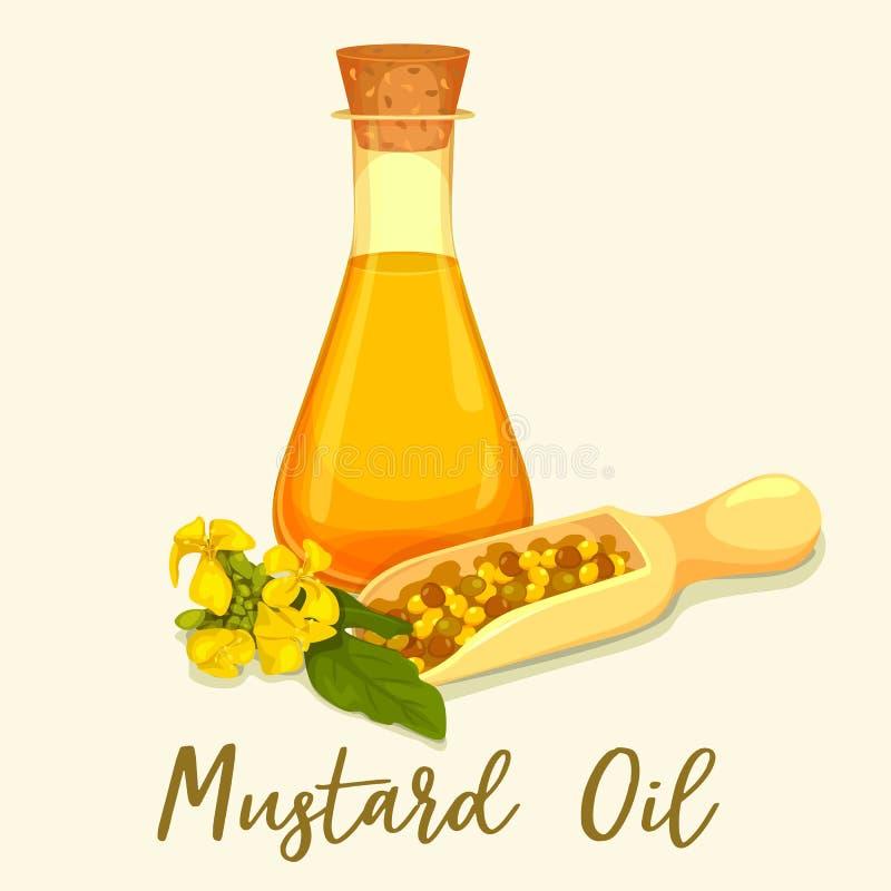 Botella con aceite de mostaza con las semillas en cucharada stock de ilustración