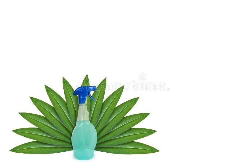 Botella con el detergente en el fondo de hojas verdes Aislado en blanco noción del origen natural imágenes de archivo libres de regalías