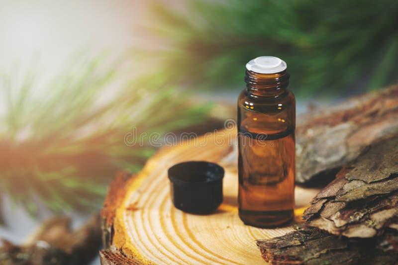 Botella con el extracto de la corteza del pino foto de archivo