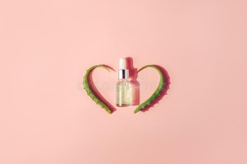 Botella con el suero, extracto con las hojas de Vera del áloe Procedimientos cosméticos para la cara y el cuerpo foto de archivo