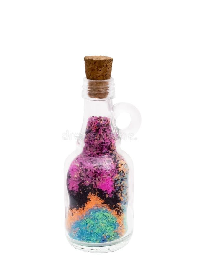 Botella con la arena coloreada fotos de archivo libres de regalías