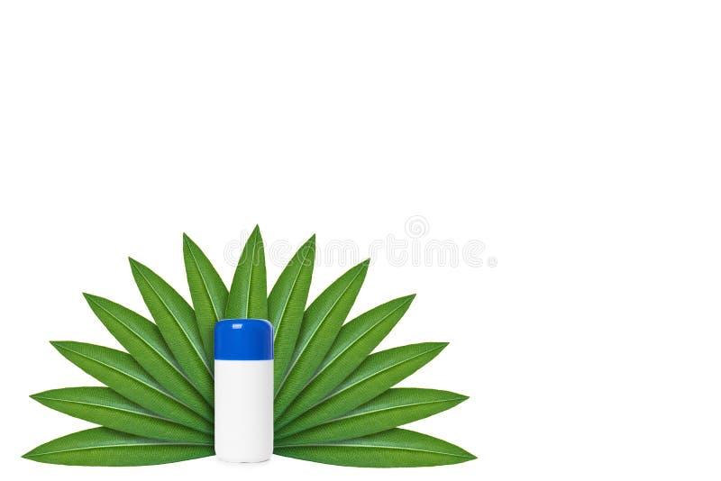 Botella con la medicina en el fondo de hojas verdes Aislado en blanco noción del origen natural imagen de archivo libre de regalías