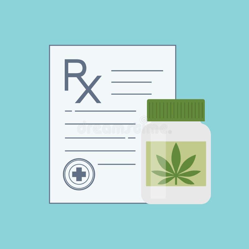 Botella con marijuana médica y píldoras médicas del cáñamo stock de ilustración