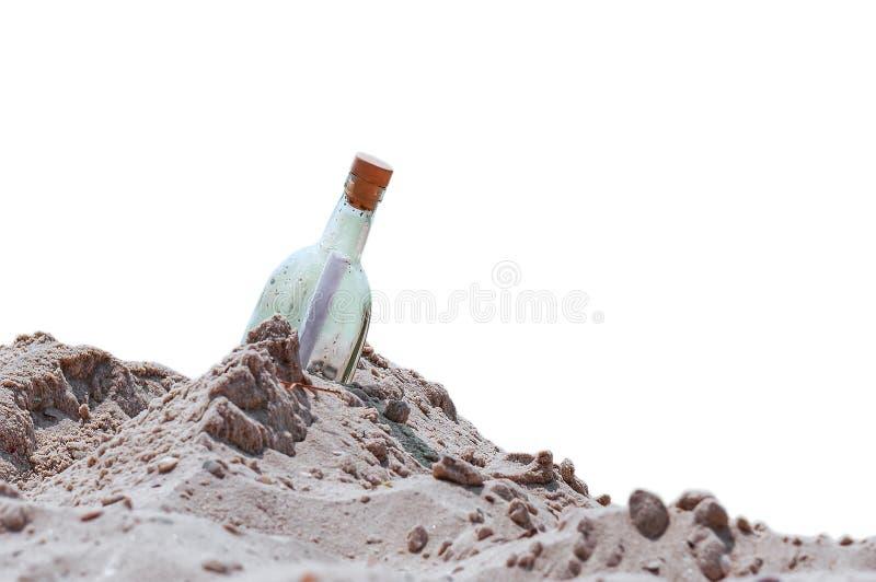 Botella con una nota imagen de archivo libre de regalías