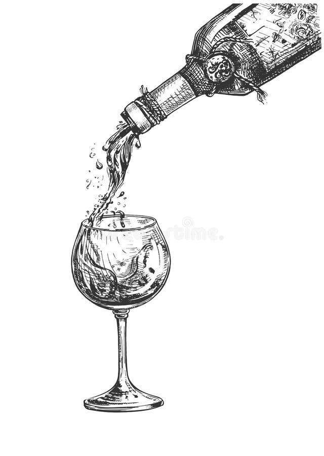 Botella, copa de vino con efecto líquido ilustración del vector