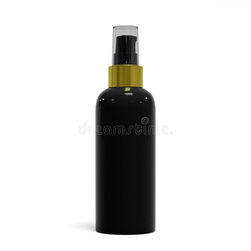 Botella cosmética de lujo negra en blanco, aislada en el fondo blanco, representación 3D ilustración del vector