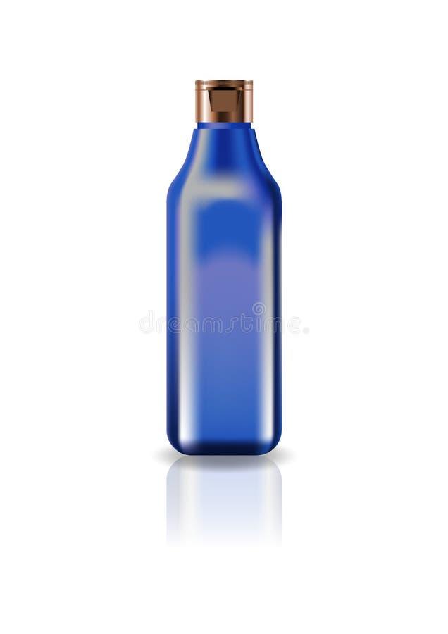 Botella cuadrada cosmética azul del espacio en blanco con la tapa del casquillo para la belleza o el producto sano imagenes de archivo