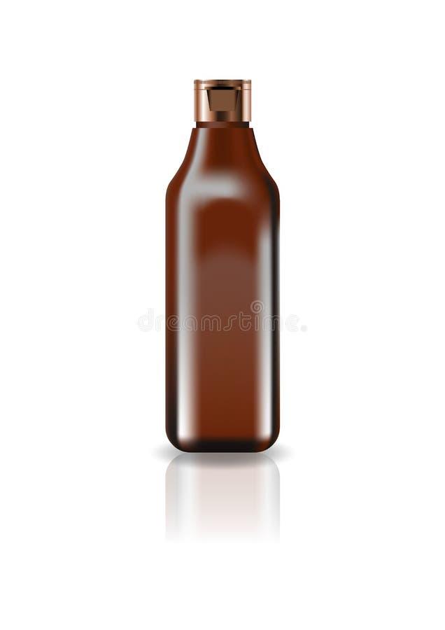Botella cuadrada cosmética del marrón del espacio en blanco con la tapa del casquillo para la belleza o el producto sano imagen de archivo libre de regalías