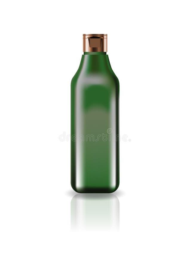 Botella cuadrada cosmética del verde del espacio en blanco con la tapa del casquillo para la belleza o el producto sano fotografía de archivo libre de regalías