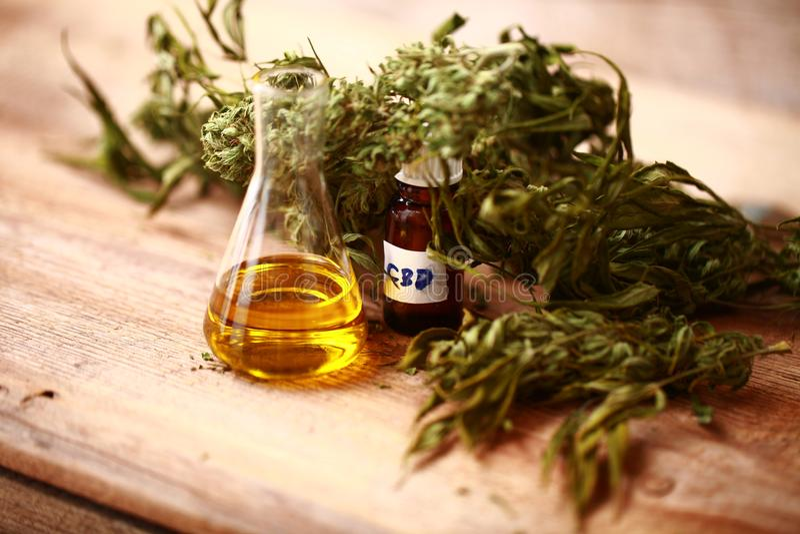 Botella de aceite de CBD y cáñamo de los productos del cáñamo foto de archivo