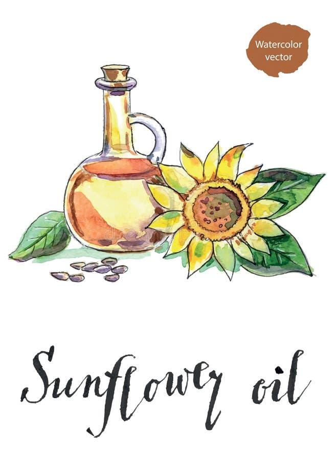 Botella de aceite de girasol, de girasol y de semillas ilustración del vector