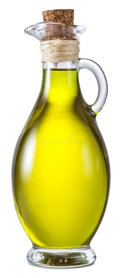 Botella de aceite de oliva virginal adicional en un fondo blanco imagen de archivo