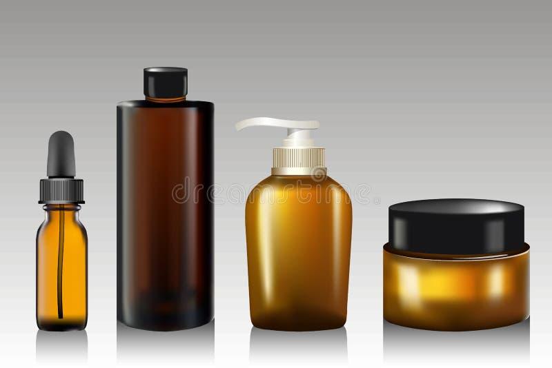 Botella de aceite esencial realista, tubo para la crema, jabón, champú, ungüento, loción Mofa de la bomba del jabón para arriba F stock de ilustración