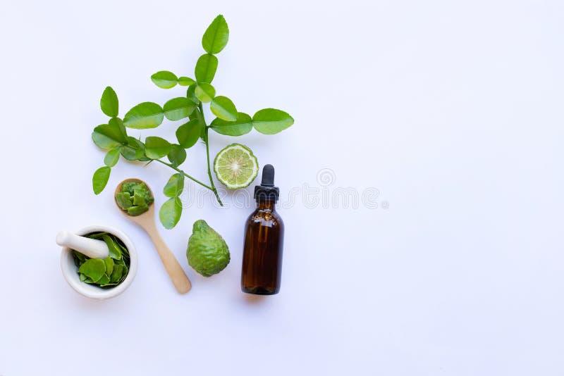 Botella de aceite esencial y de cal del cafre o de fruta fresca de la bergamota con las hojas aisladas en blanco foto de archivo