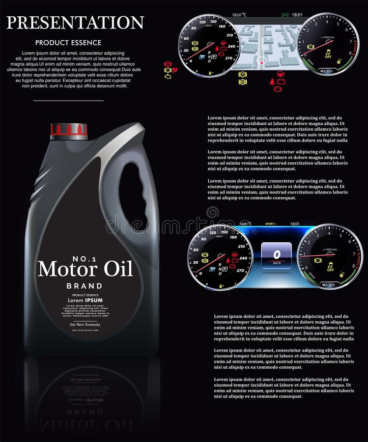Botella de aceite de motor contra la perspectiva de un velocímetro EPS10 ilustración del vector