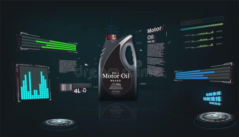 Botella de aceite de motor en un fondo futurista ilustración del vector