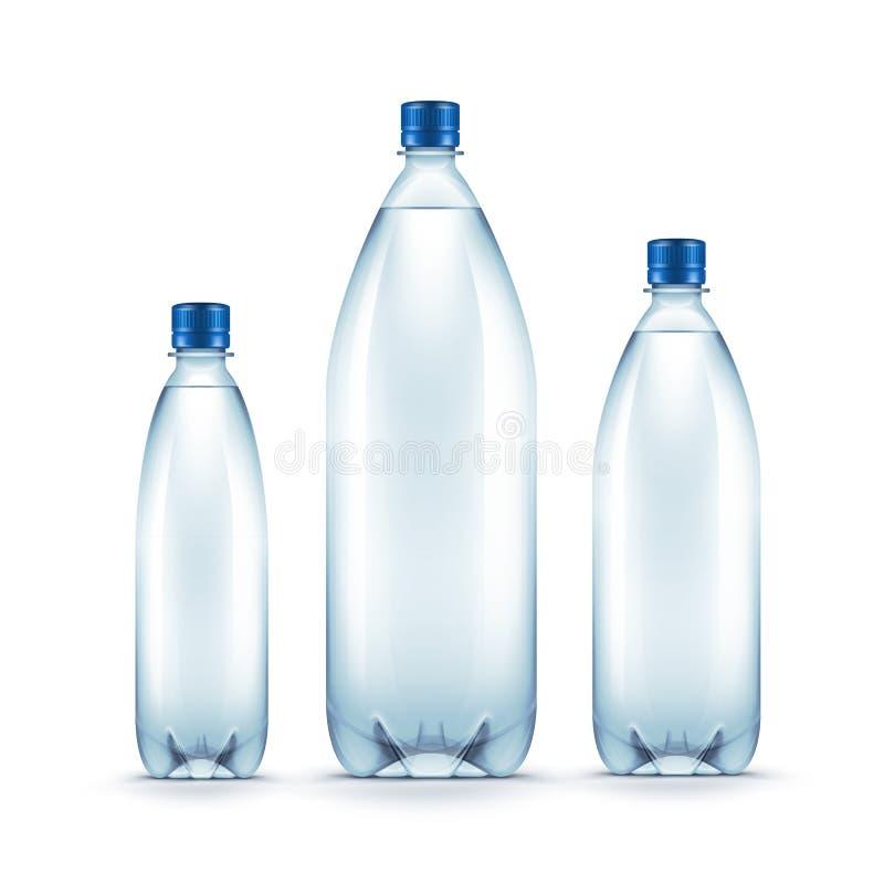 Botella de agua azul plástica en blanco del vector aislada libre illustration