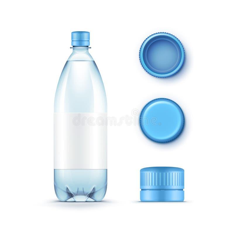 Botella de agua azul plástica en blanco del vector con el sistema de casquillos aislados en el fondo blanco stock de ilustración
