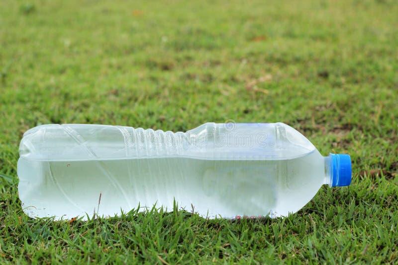 Botella de agua colocada en la hierba verde imagen de archivo