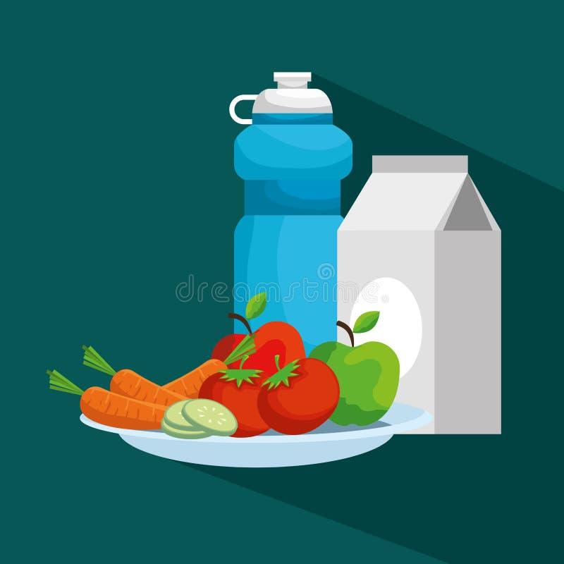 Botella de agua con la caja y las frutas de la leche con las verduras ilustración del vector