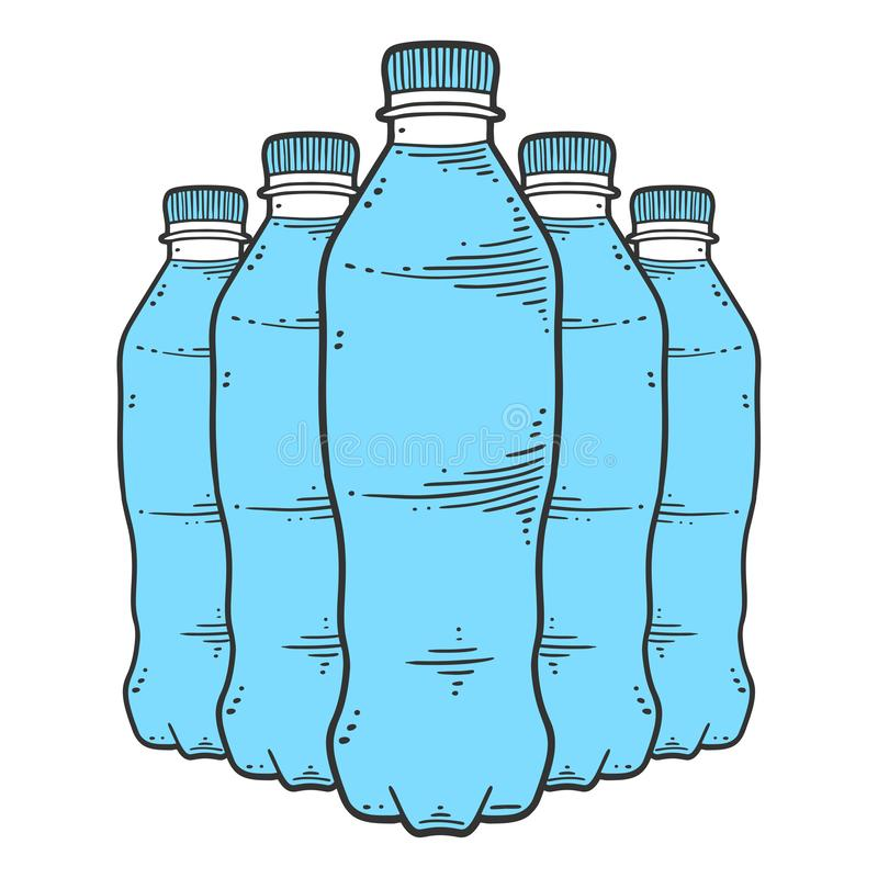 Botella de agua Concepto del vector en estilo del garabato y del bosquejo libre illustration