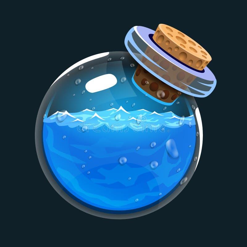 Botella de agua Icono del juego del elixir mágico Interfaz para el juego RPG o match3 Agua o mana Variante grande ilustración del vector